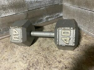 One Hex 40 LB Dumbbell USED (PAIR AVAILABLE)