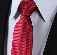 Mens Red Tie - Grid Check Silver Thread - Checked Wedding Silk