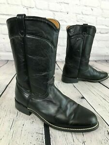 JUSTIN Black Leather Roper Cowboy Boots Women's Size 8.5 M Made in USA