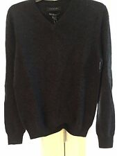 TAHARI MENS 100% LUXE CASHMERE SWEATER SIZE LARGE, DARK GRAY COLOR,NWT