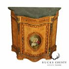 French Napoleon III Style Vernis Martin Burl Wood Marble Top Commode