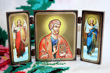 ORTHODOX Triptych ICON St. Peter the Apostle Sts Arсhangels Michael Gabriel Пётр