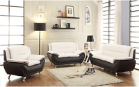 NEW 3PC Sofa Loveseat Chair Set Black White Faux Leather Modern Living Furniture