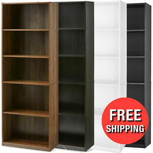 71 Tall 5-Shelf Bookcase Closed Back Adjustable Wood Bookshelf Storage Shelves