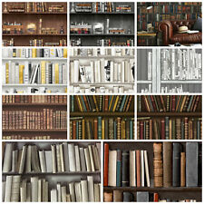 Bookcase Library Wallpaper Antique Retro Books Study Wooden Brown Natural Style