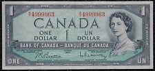 BANK OF CANADA - 1954 $1 Note Prefix R/Y -Cool Serial -Signed Beattie&Rasminsky
