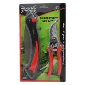 Wilkinson Sword Folding Pruner Saw & Bypass Pruner Secateur Set with Safety Lock