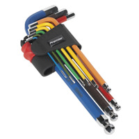 Sealey Ball-End Hex Allen Key Set 9pc Colour-Coded Long Metric AK7190 NEW