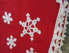 Red Christmas Table Cloths Complete Set White Crocheted Accents