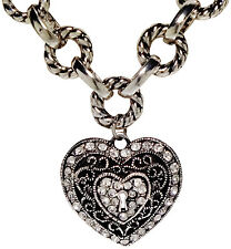 Silver Tone and Rhinestone Encrusted Heart Pendant
