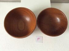 Hand Turned Wooden Bowls in Teak x 2  (non  matching)