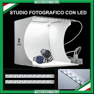 STUDIO SET FOTOGRAFICO PORTATILE  LIGHT BOX PIEGHEVOLE CON ILLUMIN. LED 6 SFONDI