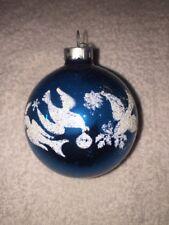 Vintage Christmas Mercury Glass Ornament Stencil Blue Dove Birds