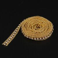 1 Yard Gold Rhinestone Crystal Beaded Ribbon Trim Sewing Craft Wedding Decor
