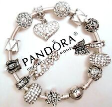 Authentic Pandora Silver Bracelet With White Crystal European Charms