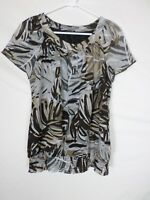 APT 9 Womens Shirt Size Small Beige Cap Sleeve Blouse Floral