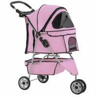 New Pink Pet Stroller Cat Dog Cage 3 Wheels Stroller Travel Folding Carrier 13T