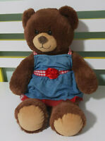 BUILD A BEAR GIRL BROWN TEDDY BEAR  DRESS WITH RED ROSE AND CHECKERS 40CM!