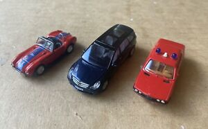 Three 1:87 Model Cars  BMW 528i,  Mercedes, Cobra  Herpa  Busch
