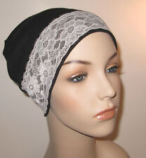 Black Stretch Knit Sleep Play Cap w/White Lace  Hospital  Cancer Chemo Hat
