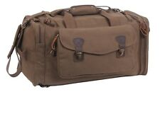 Canvas Duffle Bag Travel Extended Stay Brown With Leather Accents Rothco 8779