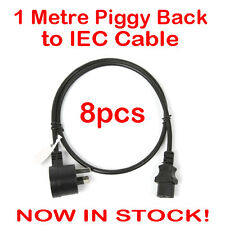 8x 1 Metre Piggyback to IEC Plug Power Cable Lead Cord Jug Black Piggy Back 1M