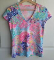 Lilly Pulitzer Womens Pink Roar Of The Seas Michele V Neck Top Shirt Tee Size XS
