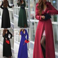 Womens Winter Lapel Slim Coat Trench Jacket Maxi Long Parka Overcoat Outwear UK