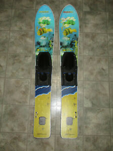 2004 Childrens Kids NASH SPORTS TRAINER WATER SKIS Wide Fish Holograph 46.5""