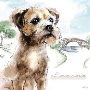 Border Terrier Dog Greetings Card - birthday, blank inside