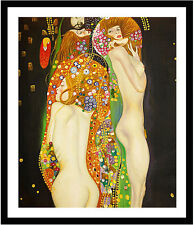 Water Serpents by Gustav Klimt 75cm x 62.5cm Framed Black