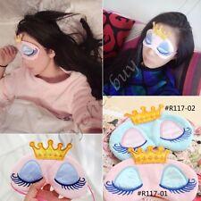 1pz Kawaii Rosa Blu Corona Lungo Ciglia Ricamo Sonno Visiera Protezione