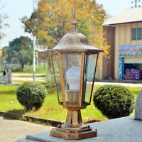 Retro Pillar Light Glass Lantern Garden Lighting Outdoor Yard Gate Post Lamp