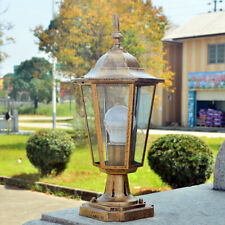 Retro Pillar Light Glass Lantern Garden Lighting Outdoor Yard Gate Post Lamp