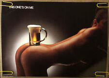 Original Vintage Poster This One's on Me Beer Bar Advertisement 1984 naked sexy
