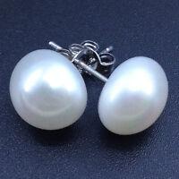 925 sterling silver Genuine AAA 11-10mm freshwater white pearl stud earrings