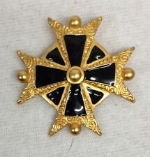 Vintage Anne Klein Maltese Cross Brooch Goldtone Enamel