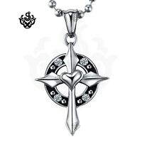 Silver cross patty devil clear crystal gothic stainless steel pendant necklace