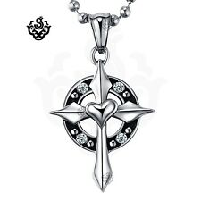Silver cross heart clear crystal gothic stainless steel pendant necklace vintage