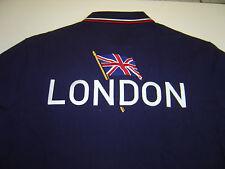 "MENS RALPH LAUREN NAVY ""LONDON"" OLYMPICS S/S ""CUSTOM"" POLO SHIRT SIZE M  $145"
