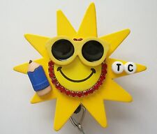 PERSONALIZED SUNNY TEACHER OFFICE RETRACTABLE REEL ID BADGE HOLDER