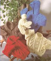 "Baby Child Aran Jacket -  4 Necklines inc Hood with Hat & Mitts To Knit 18""- 28"""