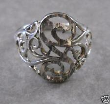 925 STERLING SILVER DECORATVE THIN CURLS RING SIZE 6 NR
