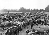 B&W WWII Photo M4 Sherman Column France  WW2 World War Two US Army