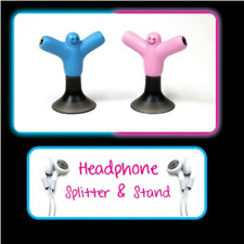 Headphone Splitters and Stands Pink and Blue 3.5mm Audio Jack TWIN PACK