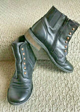 50% OFF WOW KICKERS BLACK LEATHER ROUND TOE STUDDED ANKLE BOOTS SIZE EU 37 US 6!