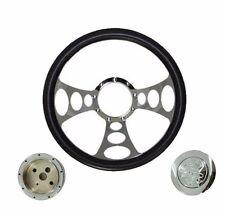 "14"" Billet Nine Hole Steering Wheel Half Wrap Leather ,adapter ,horn Button"