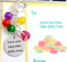 I Love you lots like Jelly Tots! Bag Charm Red Heart & Jelly Tot Beads +Gift Tag