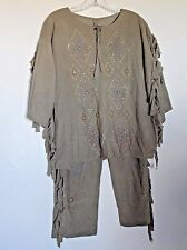 Homemade Faux Suede Lightweight Knit Indian Costume Shirt & Pants -no size as is