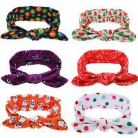 Halloween And Christmas Children Baby Printing Rabbit Ears Bow Elastic Headband
